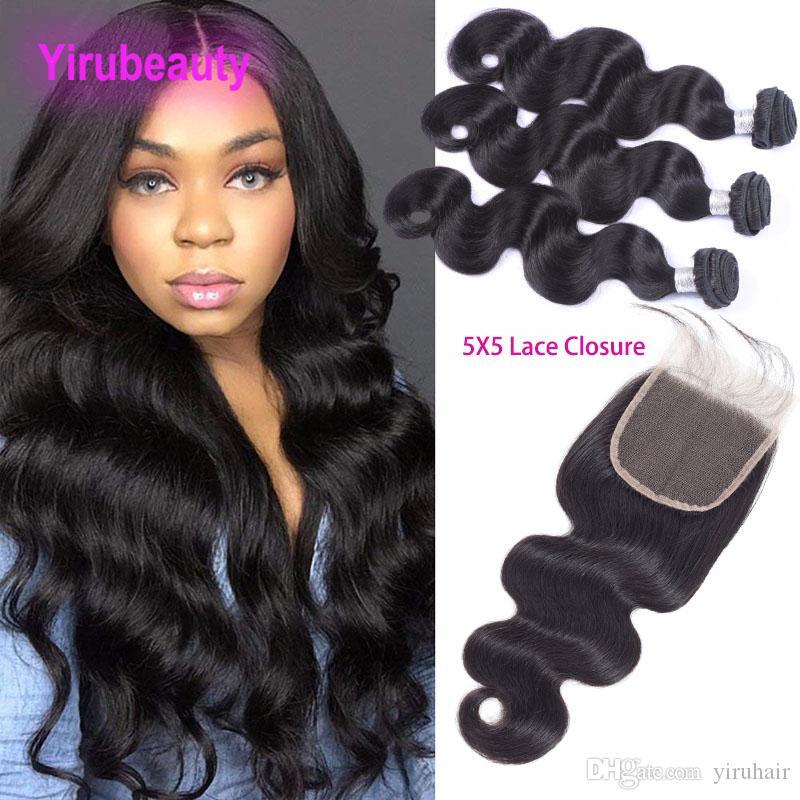 Peruvian Virgin Hair 3 Bundles avec 5x5 Fermeture en dentelle 4 Pièces / Lot Body Wave Bundles avec fermetures Baby Hair 5 * 5 Top Fermeture avec des paquets