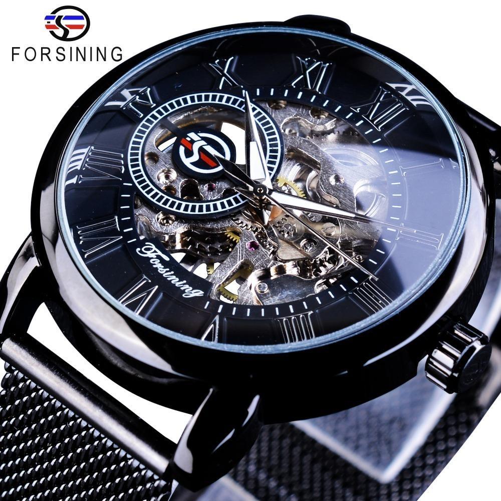 Forsining Retro Design de Moda Esqueleto Esporte Relógio Mecânico Luminous Hands Transparente Malha Pulseira Para Homens Top Marca de Luxo C19011001