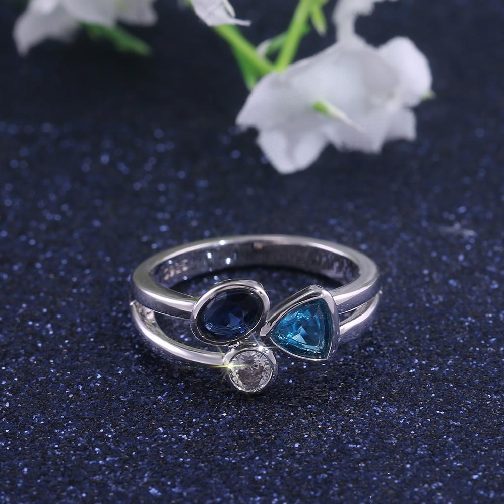 Круглый Овальный треугольник камень В один Обручальное кольцо Superb Fasinating Три различных цветов камень обручальное кольцо диапазона