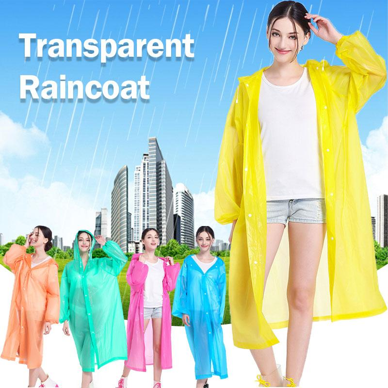 Portable Fashion Women Men EVA Transparent Raincoat Outdoor Travel Rainwear Waterproof Camping Hooded Ponchos Plastic Rain Cover
