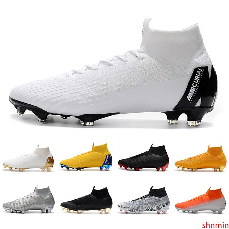 Nueva llegada Mercurial Superfly VI FG Elite 360 KJ 6 XII 12 Neymar para hombre zapatos de las mujeres de alta botas de fútbol Fútbol Tacos 39-45