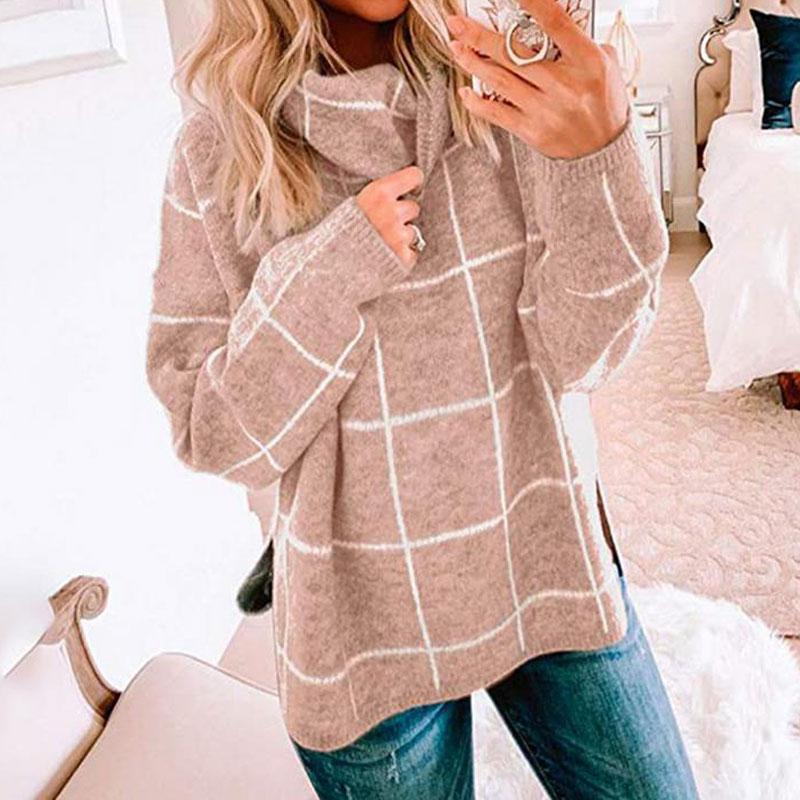 2020 осень зима черепаха шеи свитер Женщины Plaid водолазку Женщины вязаный свитер пуловер Перемычка Дамы Трикотаж