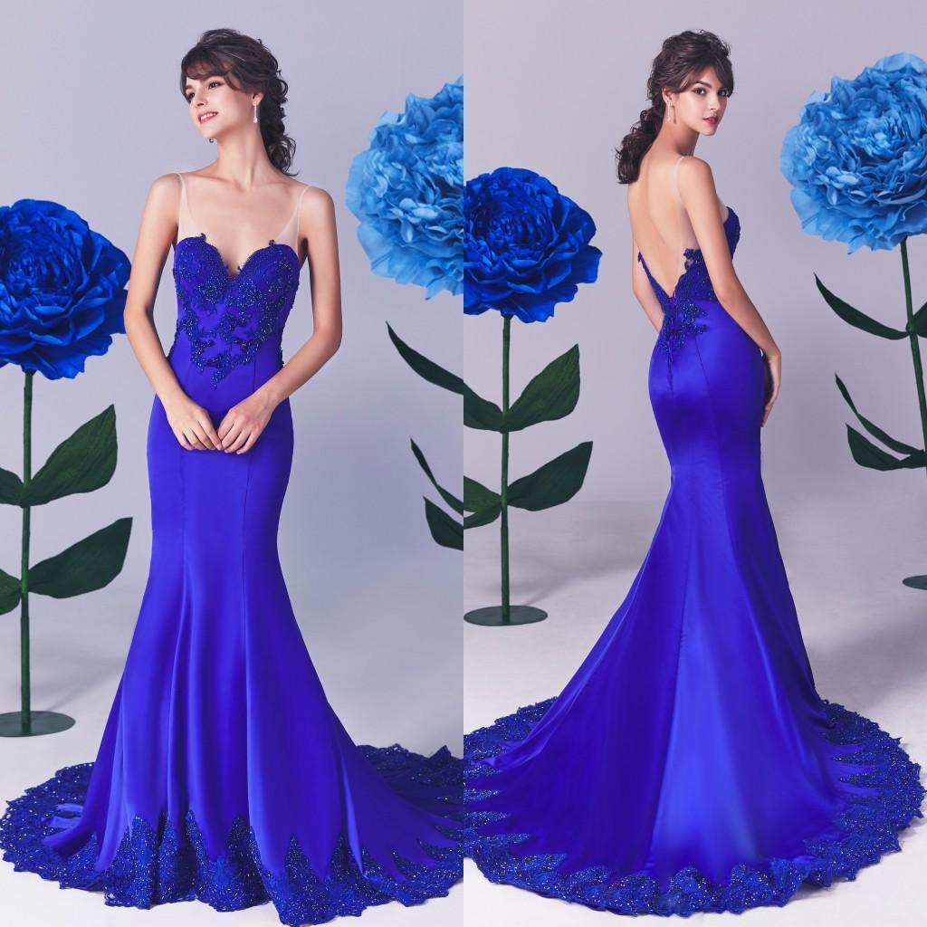 V Royal Blue Lace Mermaid Vestidos Sexy Pescoço Backless apliques de renda Prom Vestidos Varrer ocasião trem especial Vestido Formal