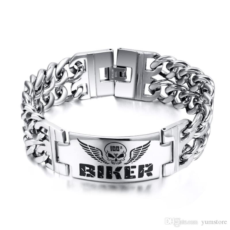 New Rock Men Bracelets Stainless Steel High Polished Chain Bracelets Skull Biker Tag Bracelets For Men