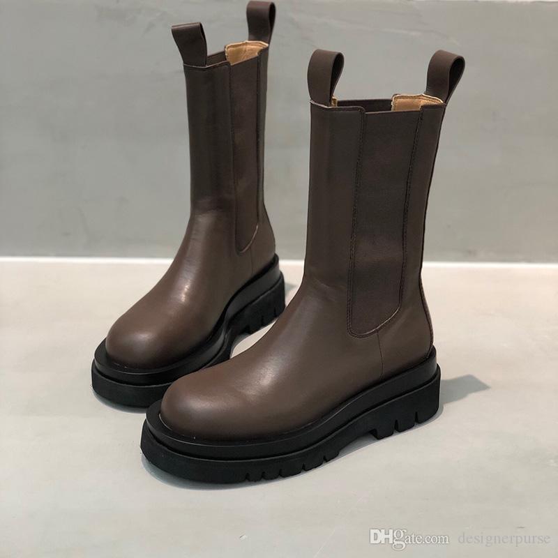 التمهيد الأزياء منتصف الساق الأحذية في STORM CUIR النساء منصة أحذية 2019 سيدة العلامة التجارية الجديدة مصمم الحذاء الفاخر النساء الأحذية