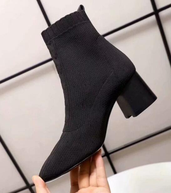 Fashion Brand H Womens Sock High Heel 6CM Boots Slip-On Boot Cowboy Ladies Pointed Toes Booties SZ35-40
