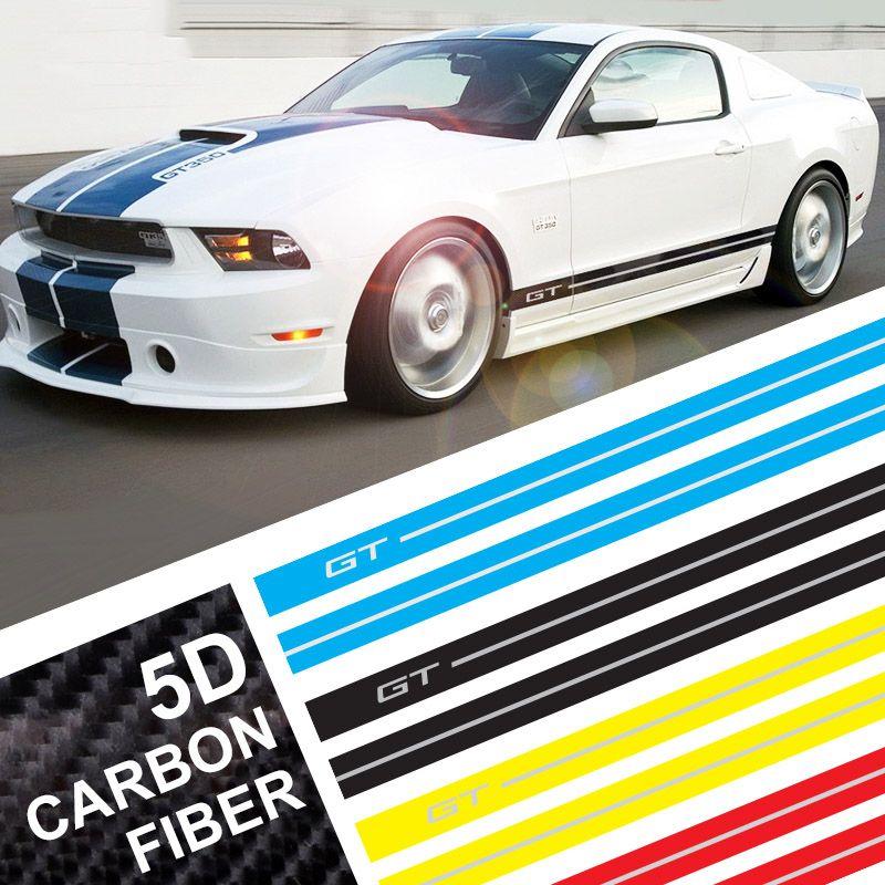 ملصقات التفاف ألياف الكربون سيارة جي تي شعار سيارة الجانب الشريط سباق السيارات الرياضية ملصقات الجسم والشارات ل موستانج