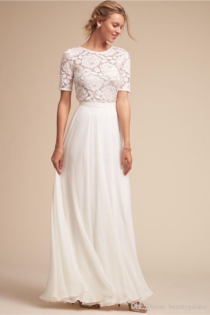 빈티지 스타일 A 라인 보석 층 길이 흰색 쉬폰 비치 웨딩 드레스 레이스 톱 짧은 소매 낮은 가격 신부의 웨딩 드레스