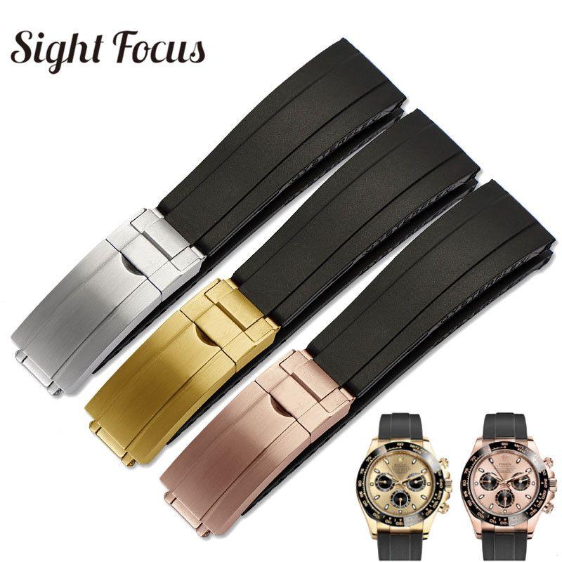 20mm Cinturino per orologio da uomo Yacht Master Brush chiusura pieghevole cinturino in caucciù Cintura nera Relogio Masculino