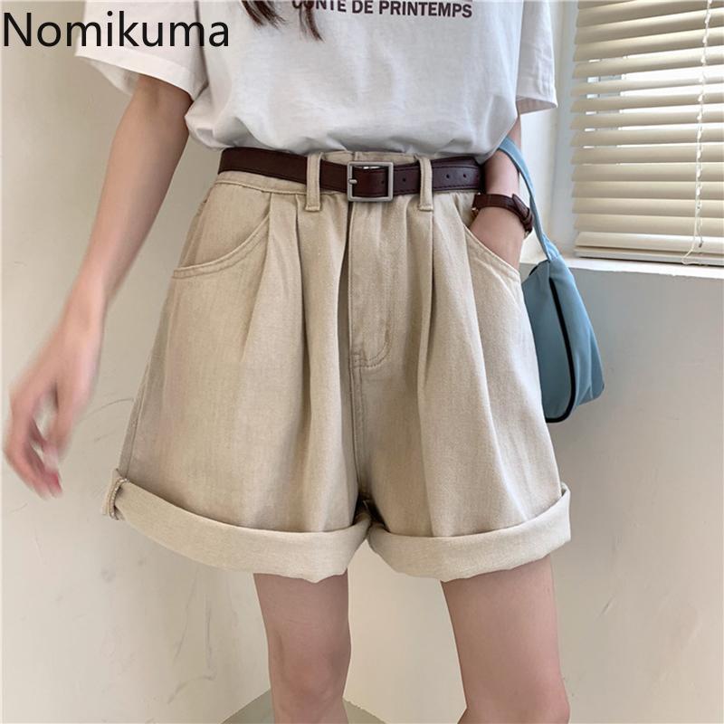 Nomikuma 2020 Verano de cortocircuitos de la cintura de las mujeres del color sólido de los pantalones vaqueros flojos Corea Moda dril de algodón de los pantalones cortos Mujer Ropa Mujer 3b583