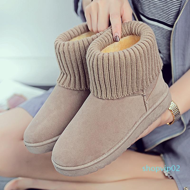 حذاء الثلوج في فصل الشتاء 2019 النسخة الكورية من جديد 100 حذاء طالب القاع شقة الأحذية قصيرة بالإضافة إلى الأحذية القطن المخملية الدافئة