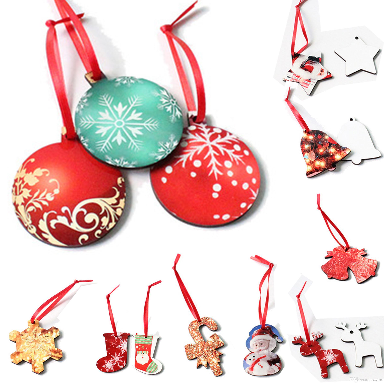 MDF сублимация заготовки термопереноса дерево Рождество кулон 10 творческих стилей деревянных украшений расходных DIY Рождественского кулон