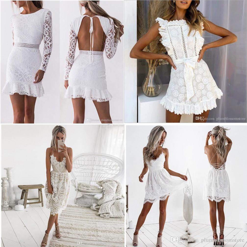 Kadınlar Hollow Out Beyaz Dantel Elbise 2020 İlkbahar O-Yaka Uzun Kollu Backless Seksi BODYCON Kılıf Abiye Lady Parti Elbise Yaz Sonbahar