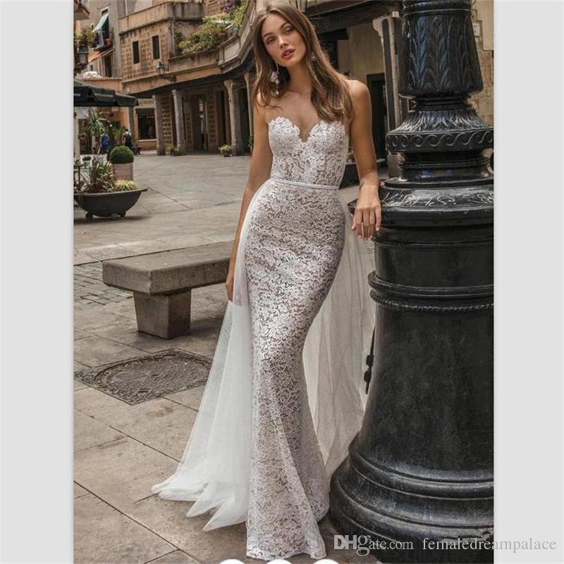 Vestido Noiva Tule 2018 Vestidos De Casamento Sexy Champagne Satin Mermaid Personalizado Sheer Pescoço Vestidos De Noiva Destacável Train Backless