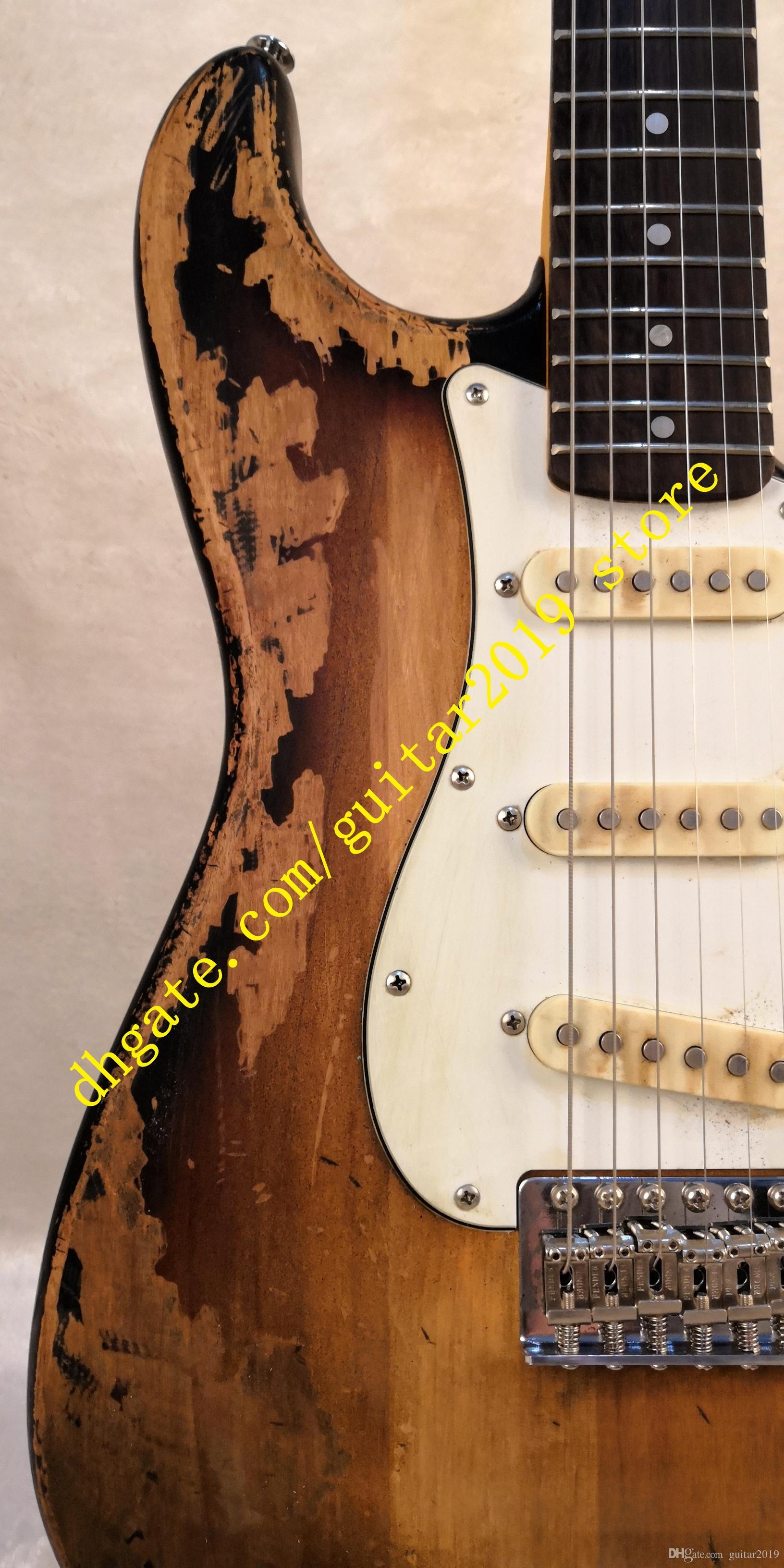 ST 6 string Deluxe Series Masterbuilt Eric Johnson Relic Electric Guitar 2 Color Sunburst in stock