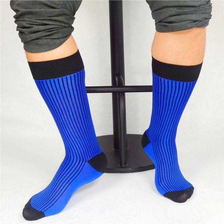 شتاء ربيع رجال الأعمال الجوارب مخطط شبكة نايلون الأزرق الحرير الجوارب الناعمة شير خفيفة الوزن اللباس الرسمي بدلة طول الركبة جوارب طويلة
