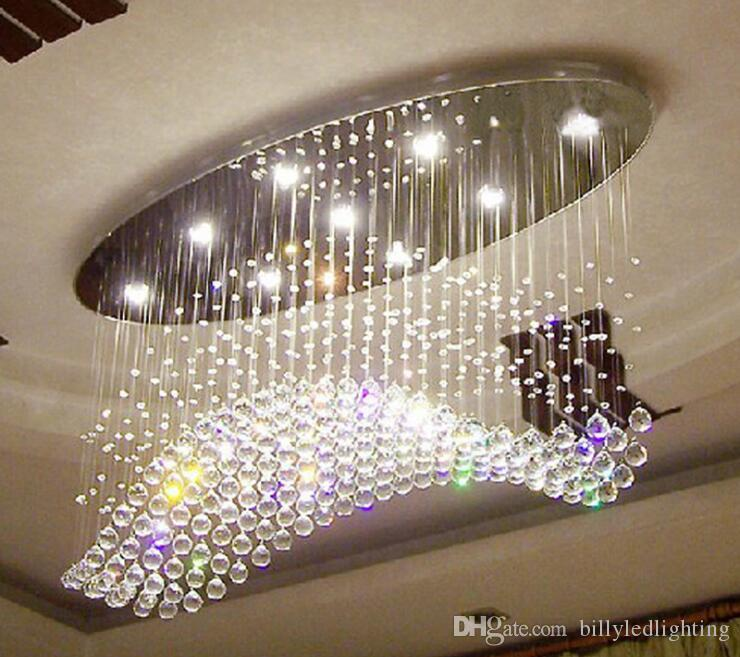 Oval curtain wave modern chandelier lighting crystal ceiling lamp living room dinning room light size L120*W40*H80cm