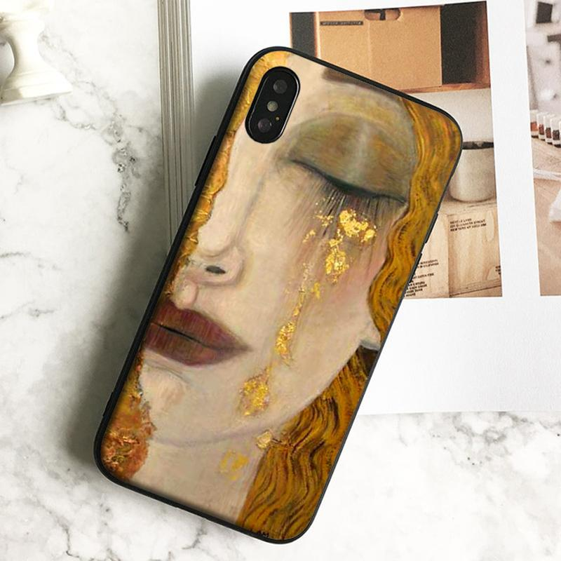 Coque Luxury Gold Tears Painting Phone Case for iPhone 11 Pro Xs Max Xr 8 7 6s Plus 5 SE Case Soft Black TPU Silicone Cover.