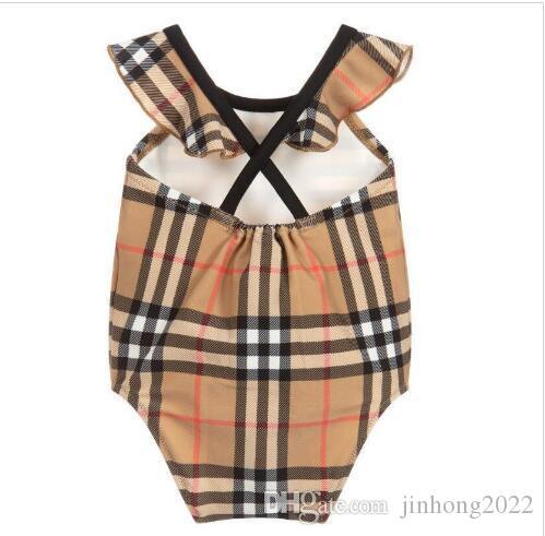 venda quente novo high-end um -Peça mergulho bebê meninas macacões clássico rede swimwear maiô menina miúdos roupa da praia