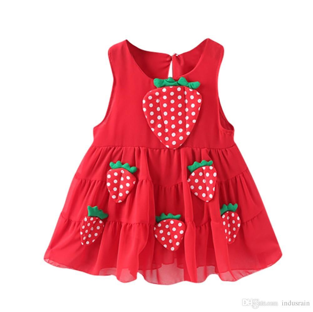 Vestidos de roupas de bebê Recém-nascido Da Criança Do Bebê Meninas Morango Apliques Casual PrincesaRoupa de Roupas