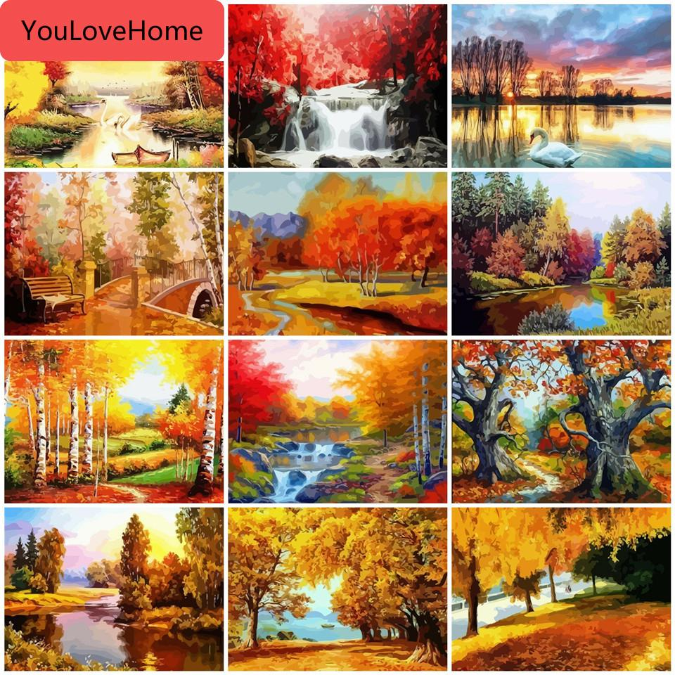 Fall Red Coat Woman Landscape Paint By Number Kit DIY Number Canvas Painting Oil