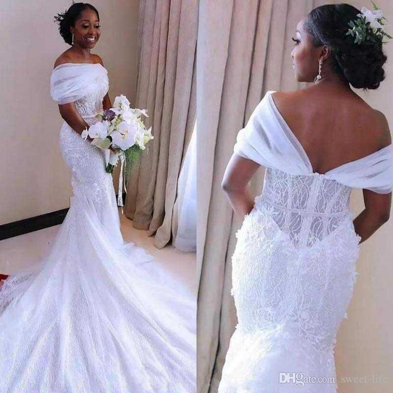 화려한 인어 웨딩 드레스 나이지리아 아랍어 아프리카 신부 가운 쉬어 오프 어깨 2020 로브 드 soriee