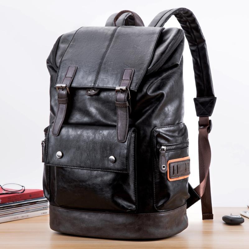 Корейский мужской повседневный школьный рюкзак мужской рюкзак мода корейский популярный дорожный школьный мешок PU мягкая кожа большой емкости