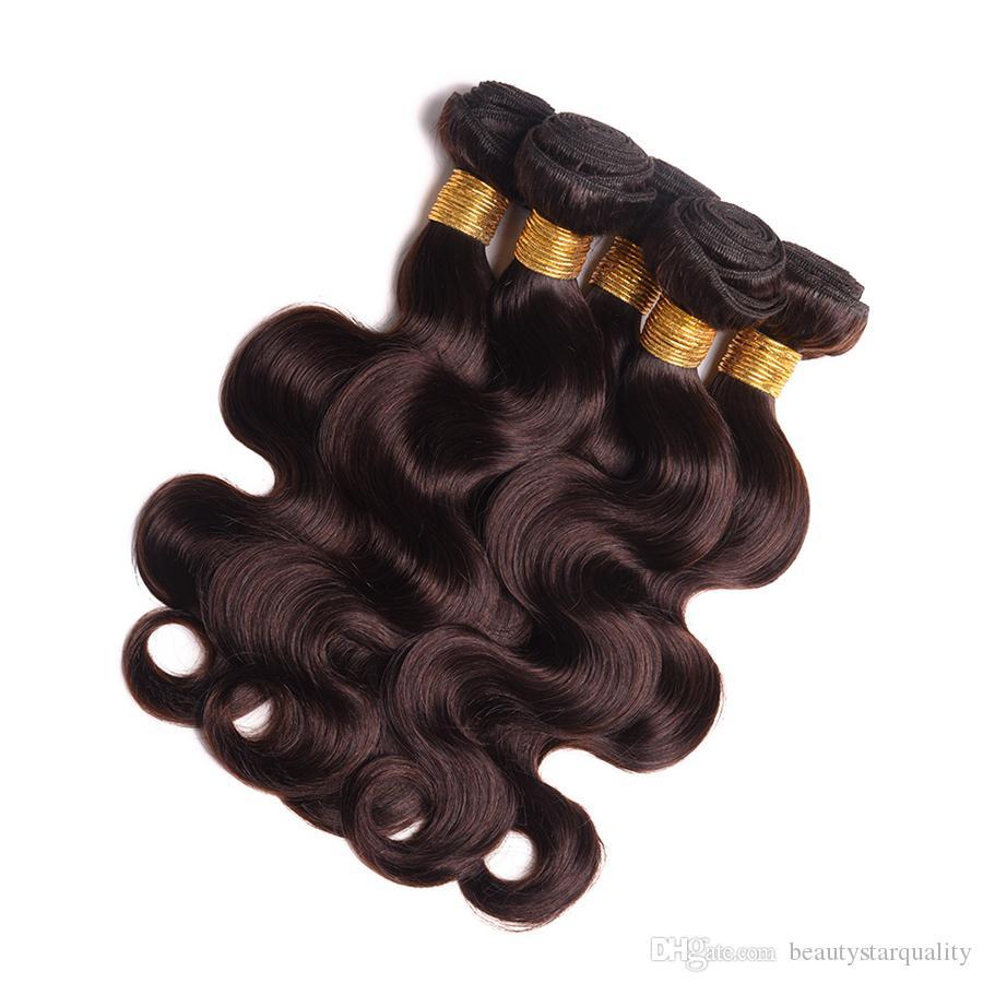 Haute Qualité Drak Brown Couleur 2 Cheveux Vierge 9A Niveau Brésilien Péruvien Cheveux colorés Cheveux