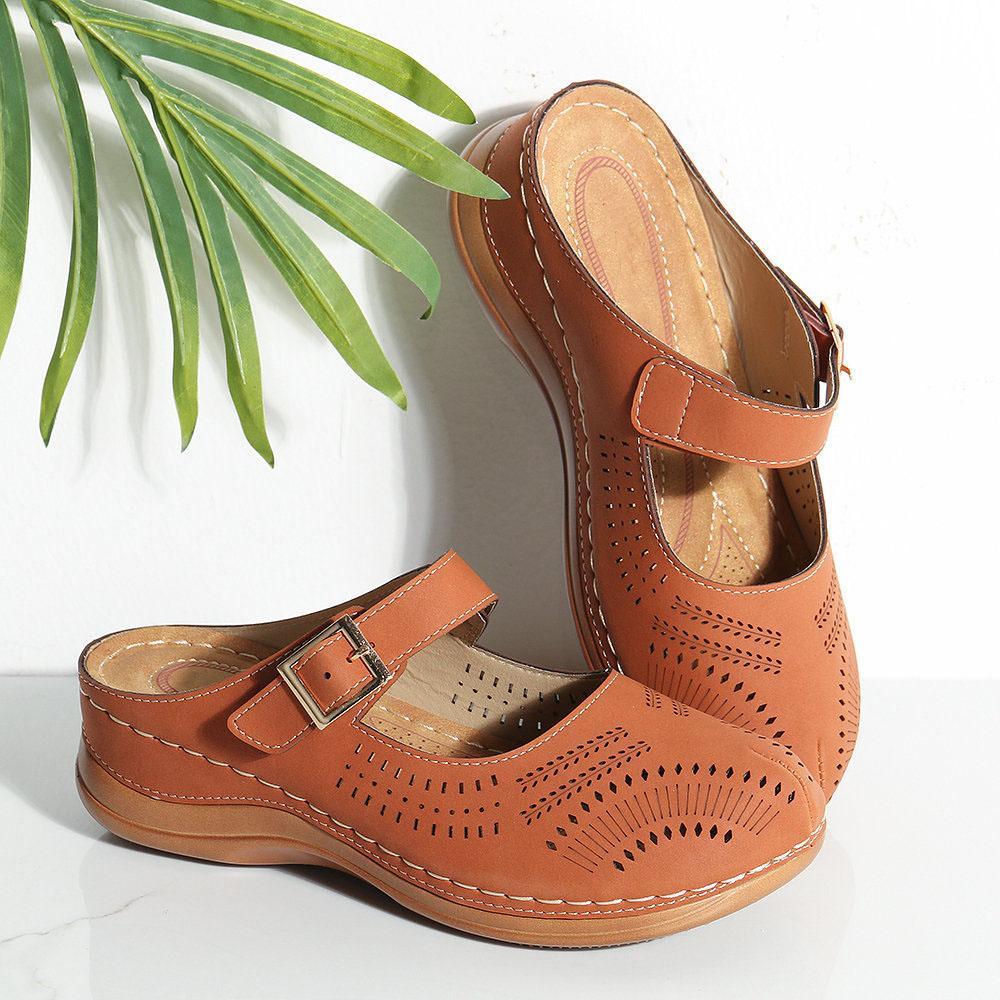 Vertvie sandalias del verano de la mujer del cuero auténtico Suela suave cerrados sandalias de punta Casual zapatos planos de las mujeres manera de las mujeres de las sandalias