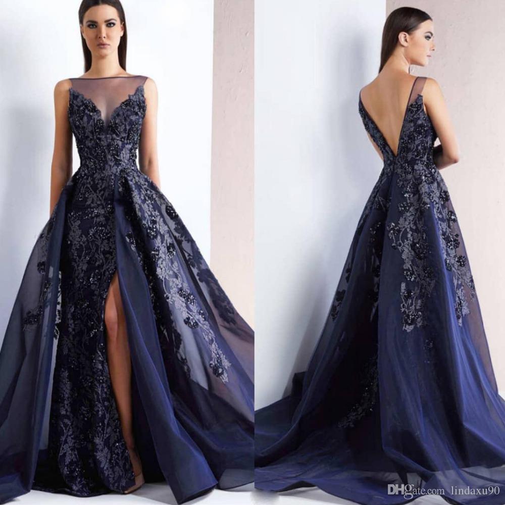 2019 Azul Azul marino nuevo vestido de noche largo atractivo de la espalda abierta lateral abierto del Organza de la sirena Vestidos de baile apliques de encaje Cuentas vestidos formales