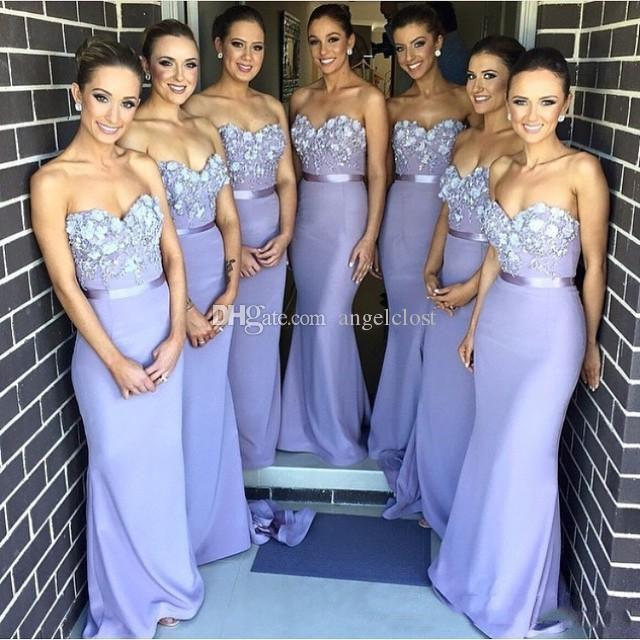 Long Mermaid Bridesmaid Dresses 2019 Sweetheart Sleeveless Appliques Beaded Sweep Train Sexy Back Formal Wedding Guest Party Gown Customized