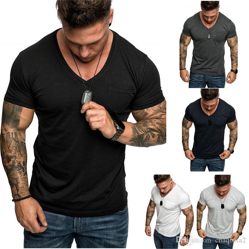 Mens Designer T-shirts col V à manches courtes Hauts Casual Mode Taille plus Hommes T-shirts d'été