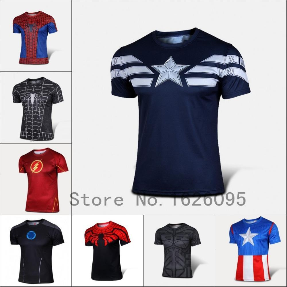 Wholesale- 2016 Fashion Marvel Deadpool T shirt Costume Compression Sportswear Fitness Camisetas Masculinas Quick Dry