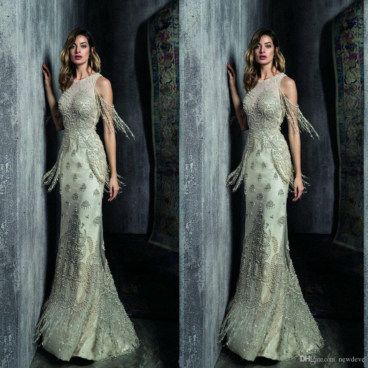 Ziad Nakad Mermaid Evening Dresses 2019 Yousef Aljasm Jewel Pearls Prom Gowns Floor Length Lace Beading Special Occasion Dress Tassel