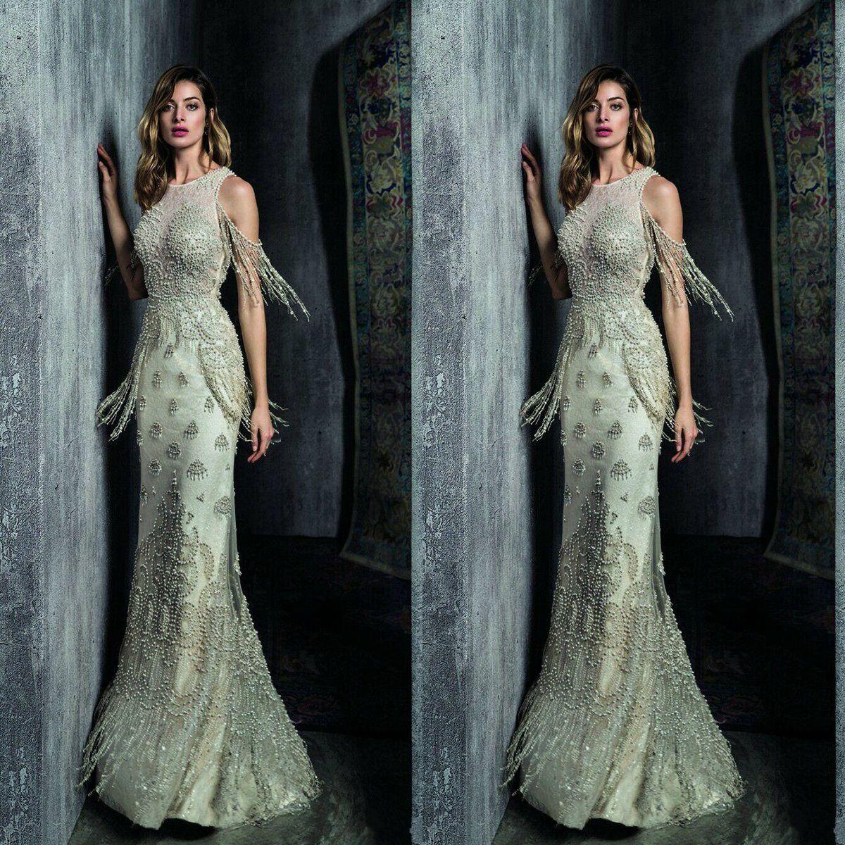 Ziad Nakad Meerjungfrau Abendkleider 2019 Yousef Aljasm Jewel Pearls Prom Kleider bodenlangen Spitzen Perlen für besondere Anlässe Kleid Quaste