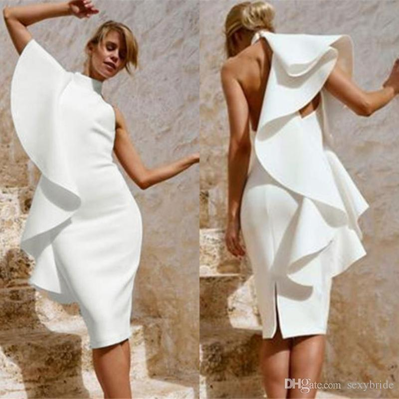 Sexy Arabic High Neck White Cocktail Dresses Slit Knee Length 2019 Fashion Ruffles Sheath Evening Prom Gowns Short Pretty Woman Party Dress