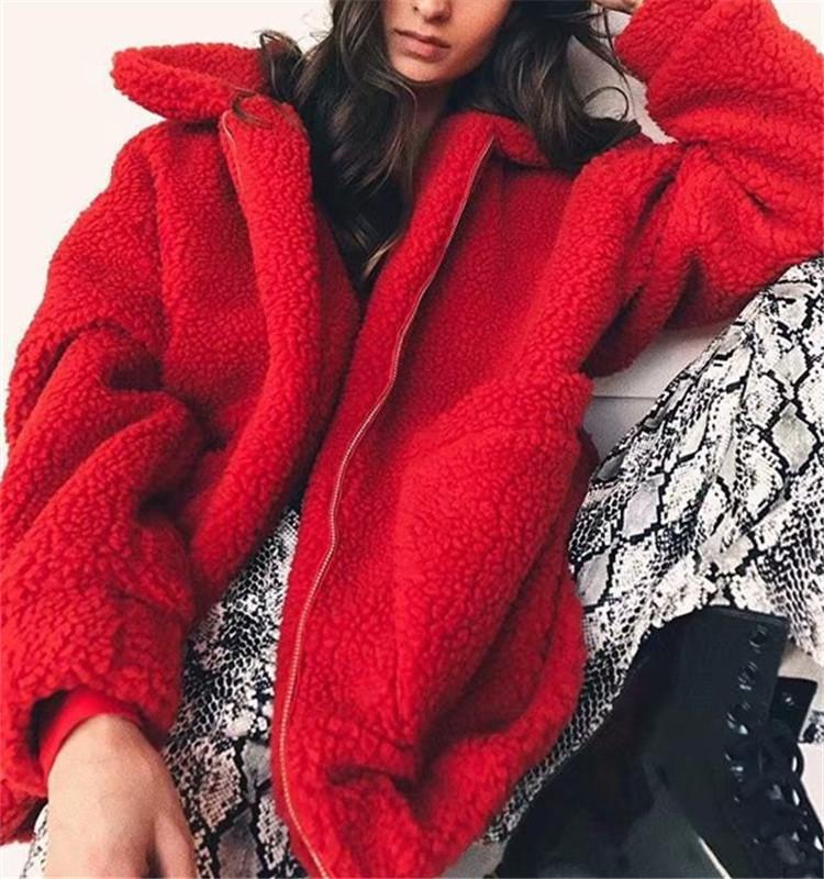 Kış Kuzular Yün Palto Fermuar Moda Kadınlar Sokak Cep Sıcak Stil Sıcak Casual Gevşek Uzun Kollu Bulanık Ceket Sahte Kürk Palto