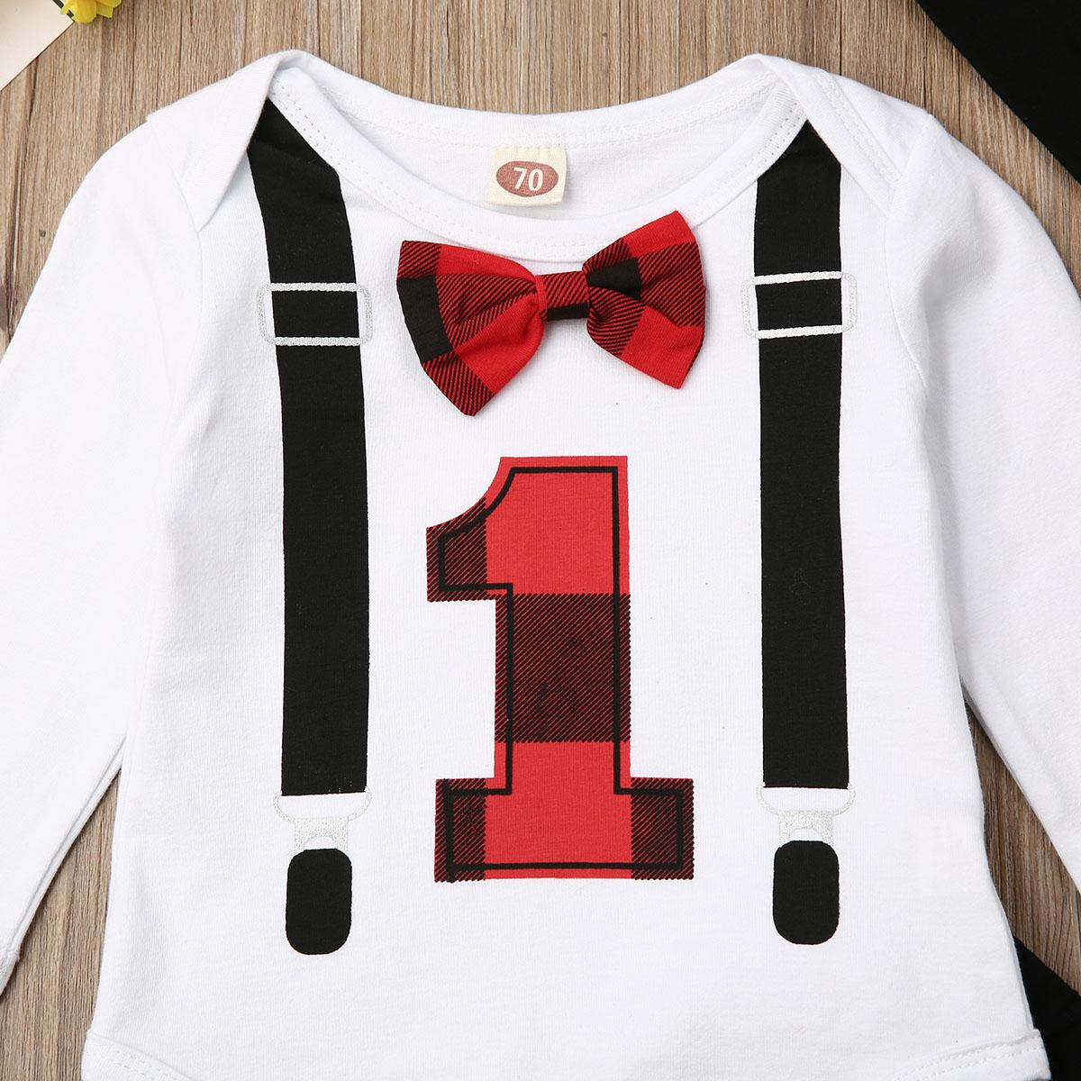 0-18 Months Baby Boy Girl Clothes Sets Newborn First Christmas Bow Long Sleeve Letter Bodysuits Plaid Pant Hat Outfit Set