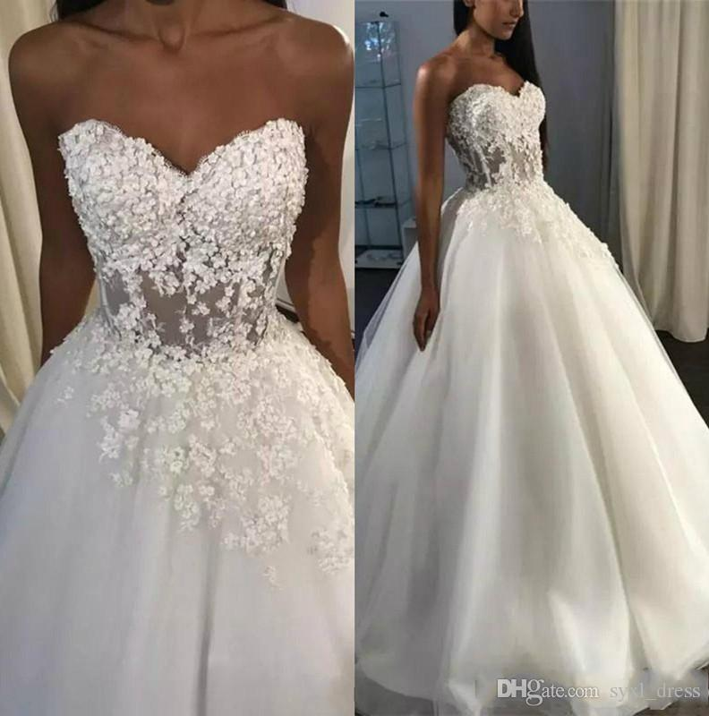 Vintage A Line Wedding Dresses Corset Back Sweep Train 3D Lace Seaside Wedding Bridal Gowns Beach robes de mariée
