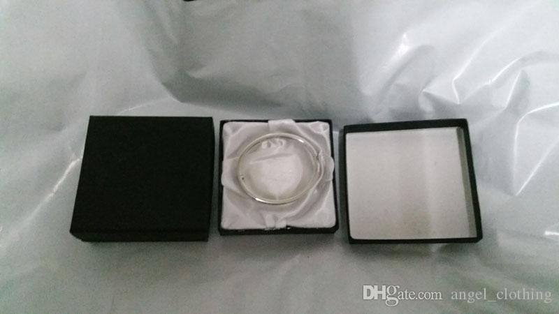 Casos exhibición de la joyería Rectángulos cuadrado de cartón caja de papel para el regalo de la pulsera del brazalete exhibición de la joyería (Negro) 9 * 9 * 2cm