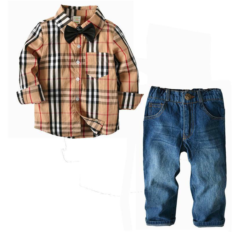 I bambini appena nati di stile dei capretti hanno vestito a maniche lunghe il vestito pantalone della camicia della camicia di cotone del plaid dell'abbigliamento stabilito 2pcs imposta i vestiti dei bambini