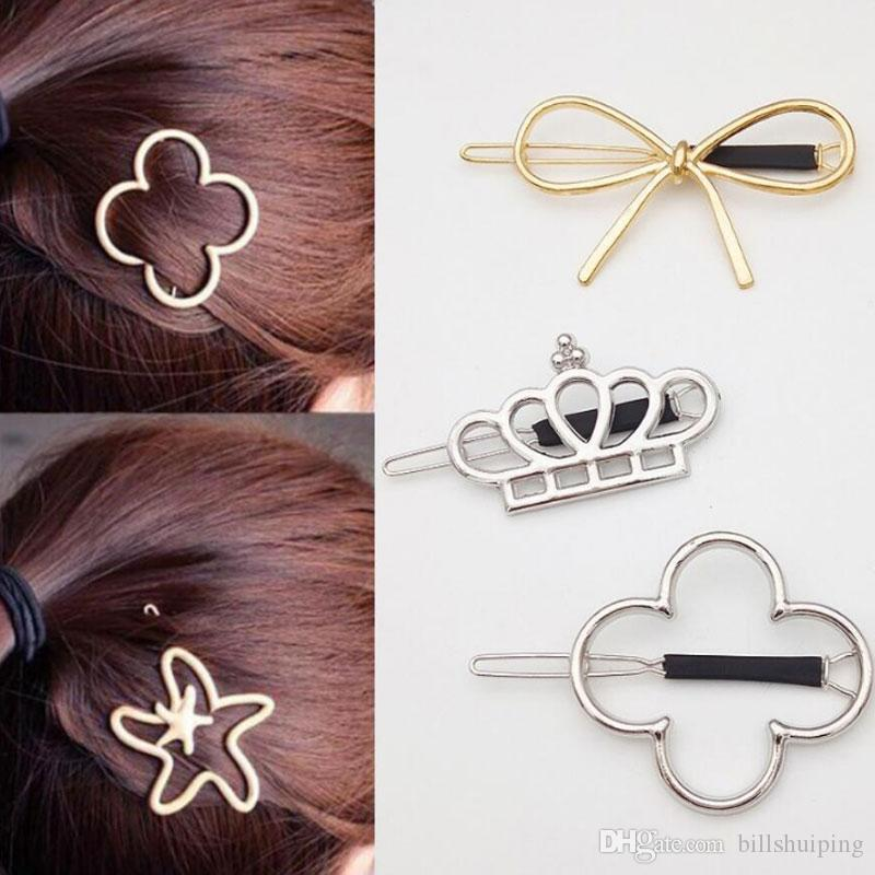 Mixed Styles Vintage Gold/ Silver Crown Four Leaf Clover starfish HairPin Girls' Hair Clips Hair Accessories Free Shipping