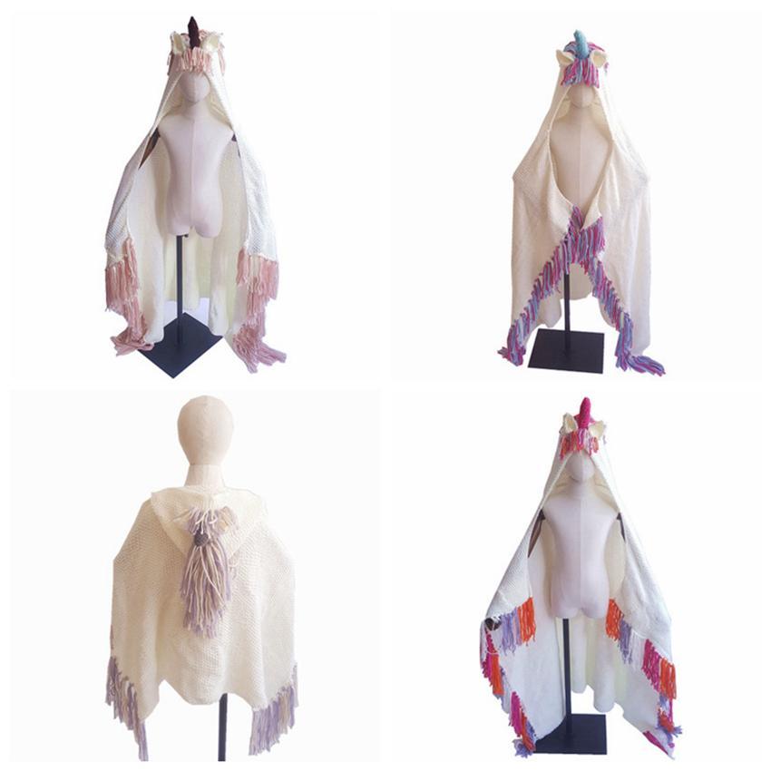 Moda Unicorn Battaniye Kapüşonlu Kızlar Için Giyilebilir Tığ Örgü Atmak Sihirli Hoodie Pelerin boynuzlu at şapka pelerin ZZA833