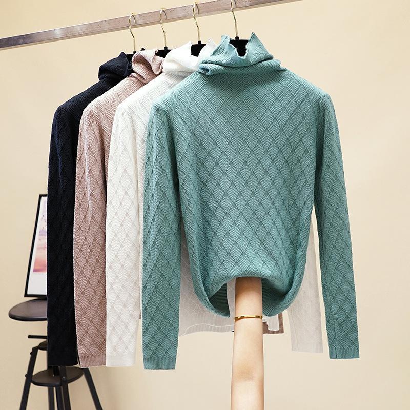 2020 beiläufig Übermaß dick Herbst-Winter-Turtleneckstrickjacke Pullover Frauen Langarm-chic Grund weibliche lose gestrickte Pullover