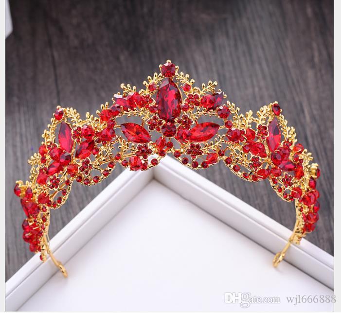 Broca de cristal vermelho para acessórios de vestido de noiva de aro de cabelo de coroa