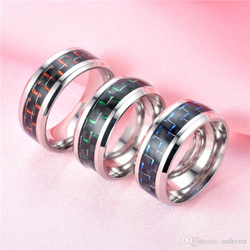 خاتم ألياف الكربون الأسود خاتم الزواج الفولاذ المقاوم للصدأ وعد خواتم الخطبة رجل خواتم المرأة وساندي الأزياء والمجوهرات هدية