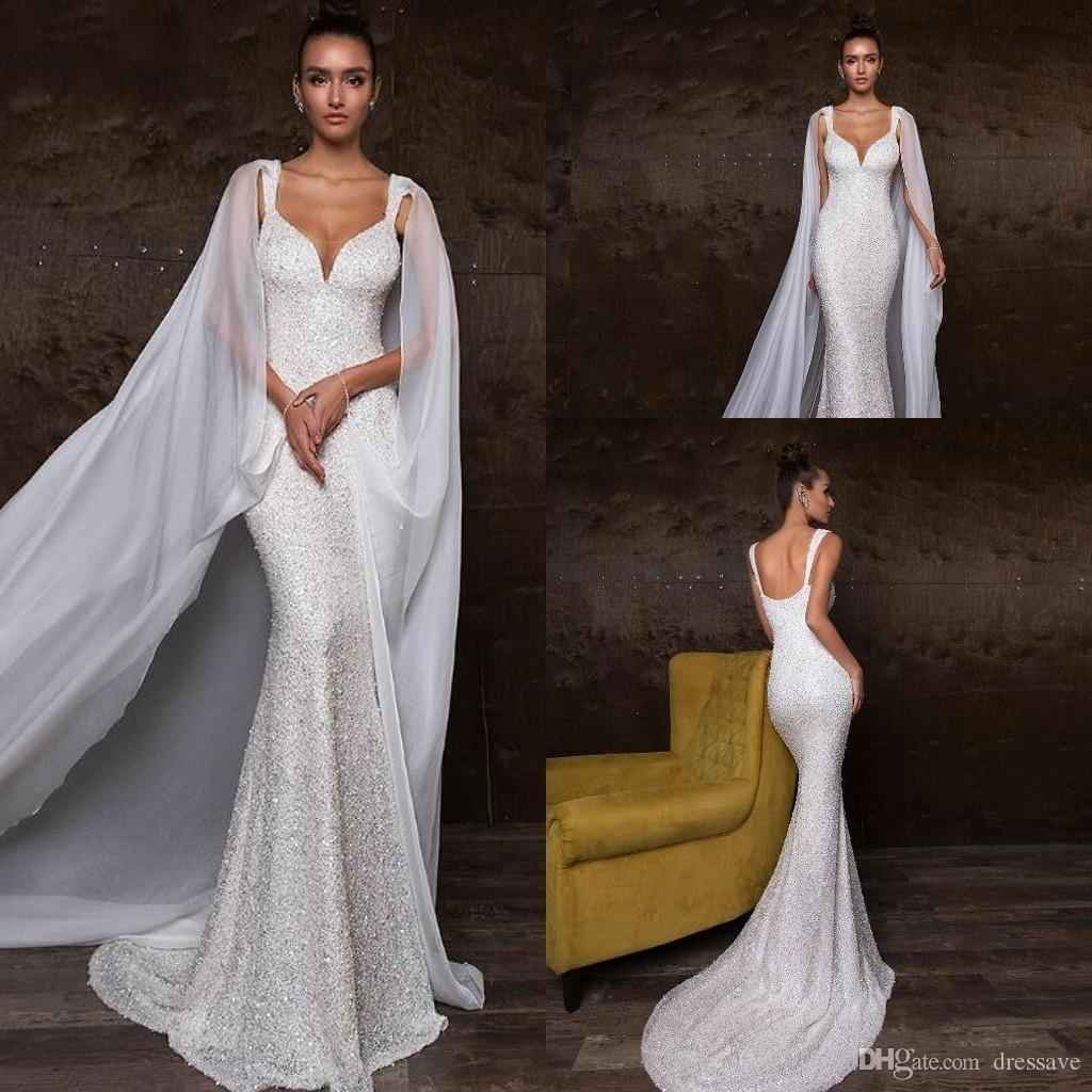 Luxury Crystals Mermaid Wedding Dresses With Detachable Wrap Straps Sweetheart Sequins Beaded Zipper Back Bridal Gowns