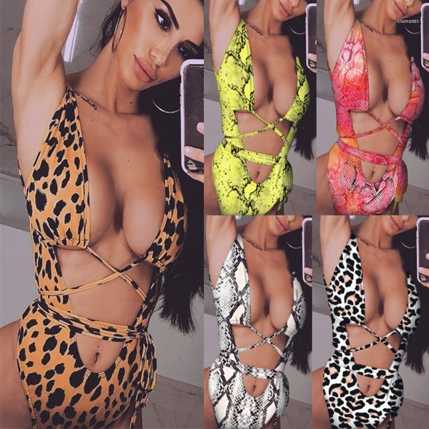Bikini Mayo Vestidoes Tek Parça Leopar Bikini Bayan Giyim Yaz Moda Bandaj Hollow Out Tasarımcı