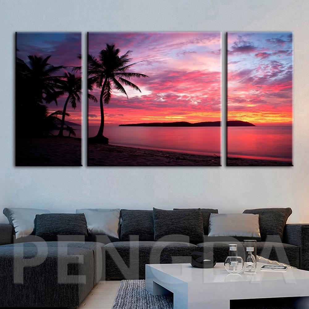 Pinturas Lienzo Decoración para el hogar Modular Marcador de playa Sun Paisaje Fotos Cartel impreso moderno para sala de estar Marco de arte de pared
