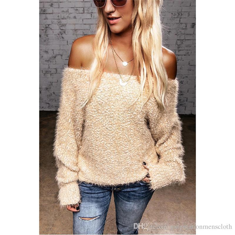 Boot-Ausschnitt Womens Designer Pullover-beiläufige reizvolle Normallack-Pullover langärmelige Pullover Mode für Frauen Pullover